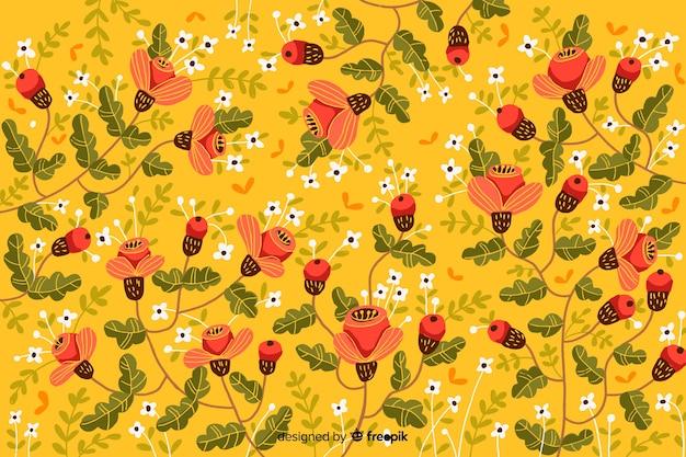 Яркие расписные цветы декоративный фон