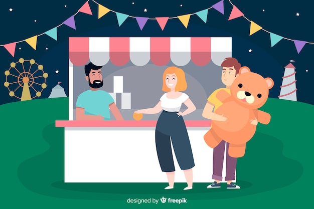 Люди на ночной ярмарке