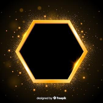 Золотая сверкающая рамка на темном фоне