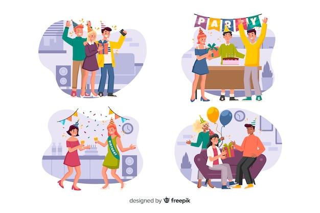 Коллекция людей, празднующих дни рождения