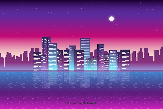 Плоский неоновый городской пейзаж