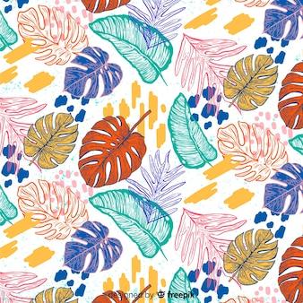 モンステラの葉の手描きの背景