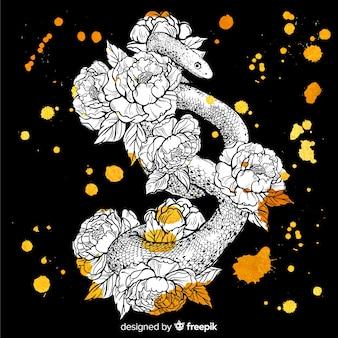 花と手描きのヘビ