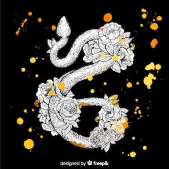 蛇の肌に手描きの花柄のデザイン