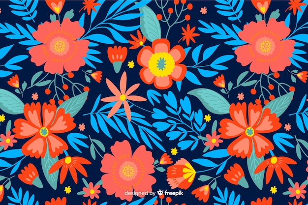 カラフルな平らな花の装飾的な背景