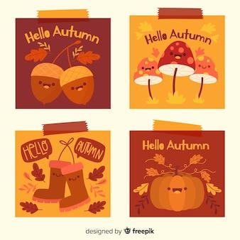 かわいい秋のカードのパック