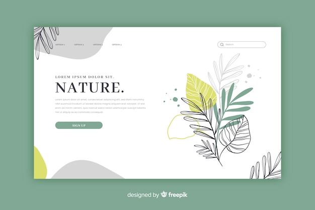 Нарисованный рукой шаблон целевой страницы природы