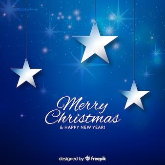 銀色の星とクリスマスの背景
