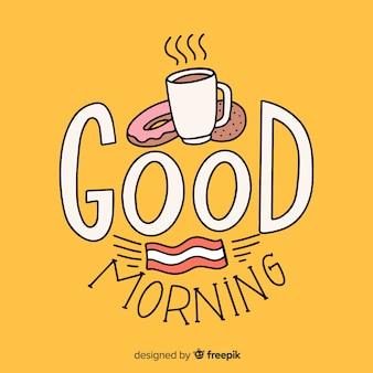 Доброе утро, надпись фон рисованной стиль