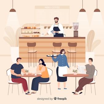 Люди сидят в кафе