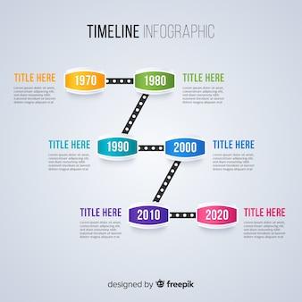 タイムラインインフォグラフィックテンプレートフラットデザイン