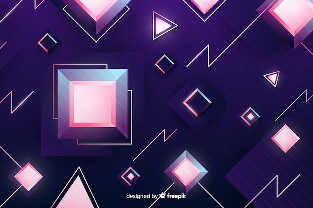 Трехмерный геометрический ретро футуристический фон