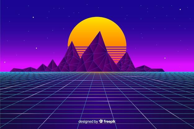 太陽とレトロな未来的な風景の背景