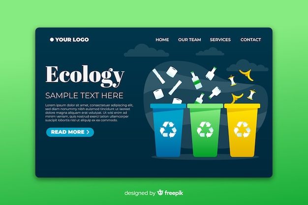 Экологическая посадочная страница с разноцветными мусорными корзинами