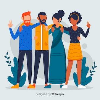 Плоская многорасовая группа людей