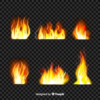 現実的な火の炎のセット