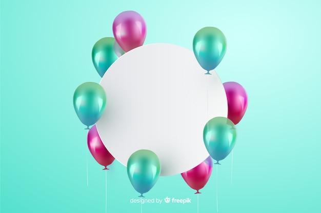 Глянцевый трехмерный шар фон с пустым баннером