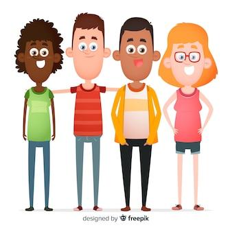 人々のフラットなデザインの多民族グループ