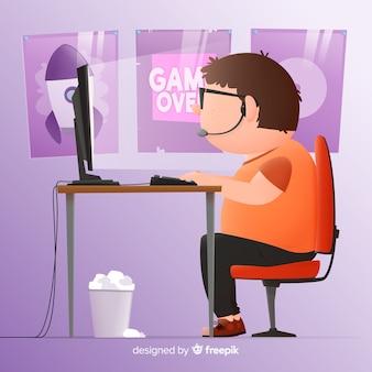 コンピューターゲーマー背景フラットデザイン