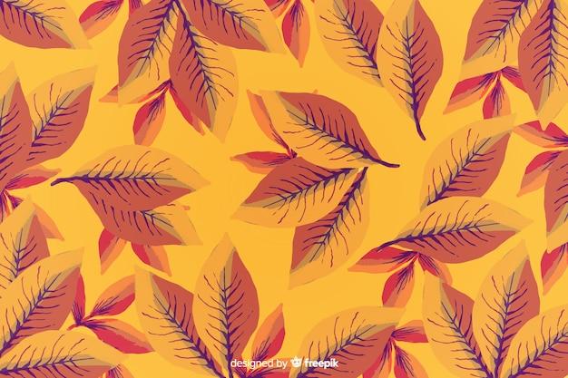 水彩秋の背景の葉