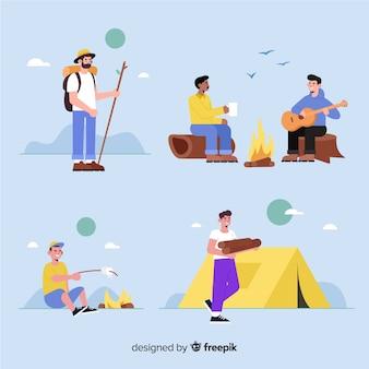 フラットなデザインのキャンプの人々のパック