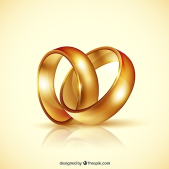 Реалистичная пара золотых обручальных колец