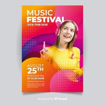 写真と抽象的な音楽祭ポスター