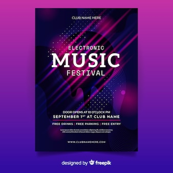 Шаблон плаката фестиваля электронной музыки
