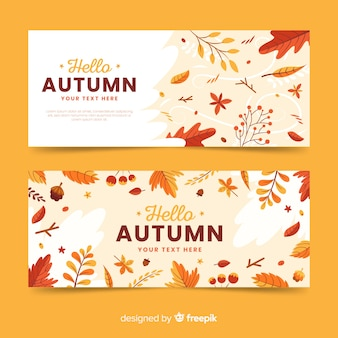 フラットなデザインの秋のバナーテンプレート