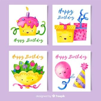 Открытка на день рождения в акварельном стиле