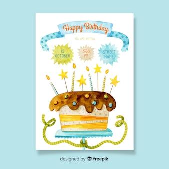 Шаблон приглашения на день рождения в акварельном стиле