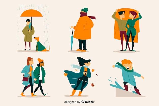 Иллюстрация людей, идущих в осень