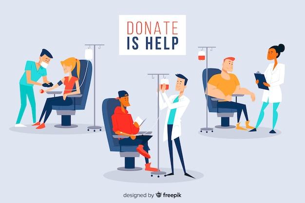 献血をする人々のセット