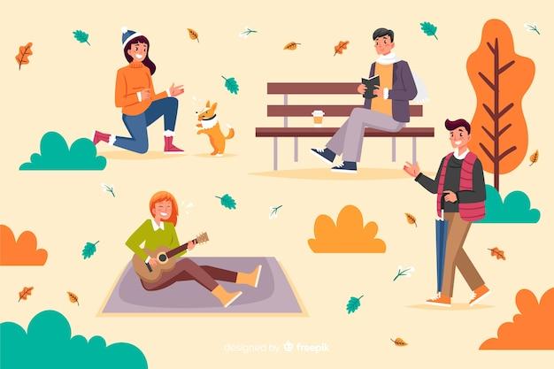 Иллюстрация людей в осеннем парке