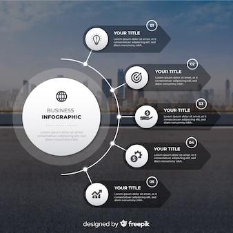 写真とビジネスインフォグラフィックフラットなデザイン