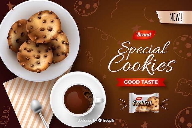 いたずら書きとクッキーの広告テンプレート