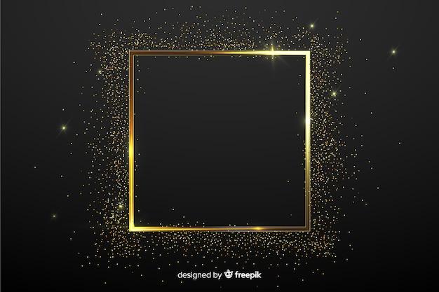 Фон с золотой сверкающей рамкой