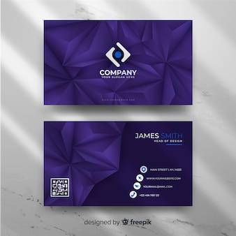 Фиолетовый геометрический шаблон визитной карточки