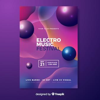 電子音楽祭のポスターテンプレート