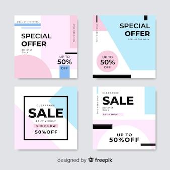 Красочный пакет современных баннеров продажи для социальных медиа