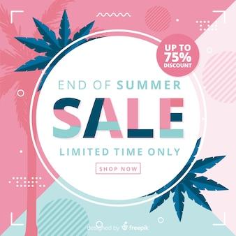 夏の販売の背景の青とピンクの終わり