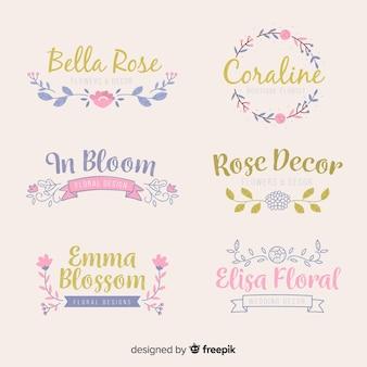 Коллекция шаблонов логотипа свадебного флориста