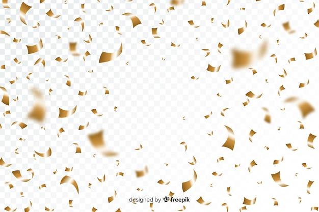 黄金の紙吹雪と透明な背景