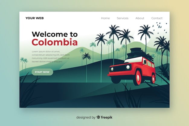 コロンビアのカラフルなランディングページへようこそ