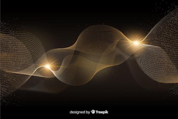 抽象的な黄金の波と豪華な背景