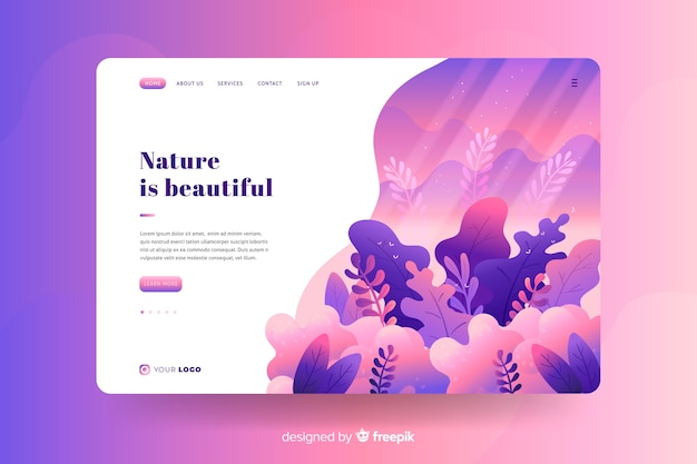 フラットな自然のランディングページテンプレート