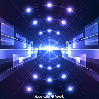 ネオンの光と技術コンセプトの背景