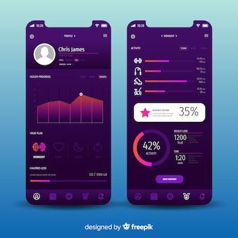 フィットネスモバイルアプリインフォグラフィックテンプレート