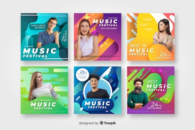 Шаблоны плакатов музыкального фестиваля с фото