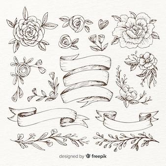 手描きの結婚式の飾りコレクション